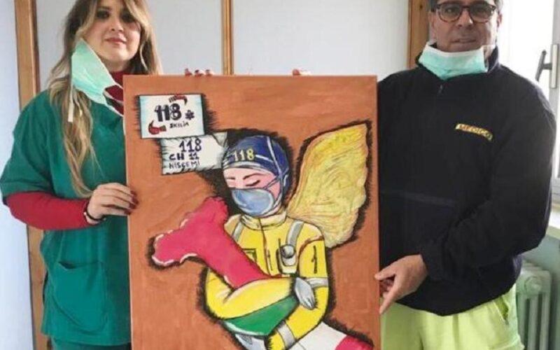 Niscemi: l'infermiera artista dona tre opere alla postazione Chiarlie 11. Omaggio all'impegno degli operatori
